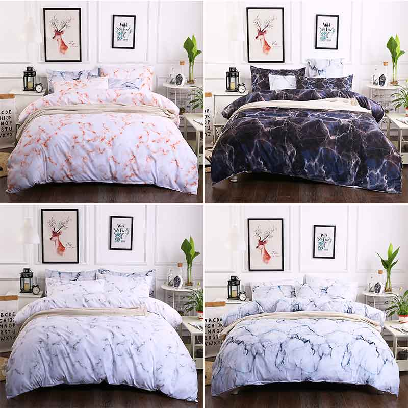 Prajna Nordic Europe Style Marble bedding Pattern Duvet Cover Bedding Set Queen Size Double Bed Quilts Bedclothes Comforter D