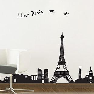 Cheap DIY Black Eiffel Tower Environmental Vinyl Wallpaper Bedroom 60*90cm  Removable Decal Wall Stickers