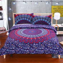 Luxury Boho Bedding Set Crystal Arrays Duvet Cover Set Super Soft Quilt Cover Bohemian Bedclothes 3 Pieces blue flower red decor(China)