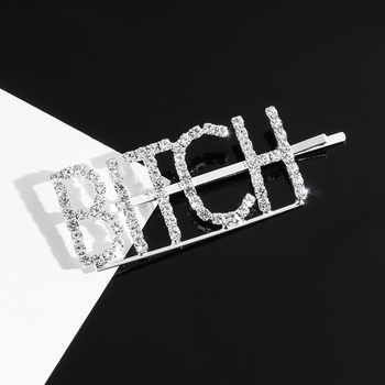 1PCS Hot Fashion Word Rhinestone Crystal Letter Hairpin Hairgrip Hairclips Hair Clip Grip Pin Barrette Ornament Hair Accessories new arrival hot words hairclips melanin jealous blessed pitiless hair pins great quality hair accessories wholesale