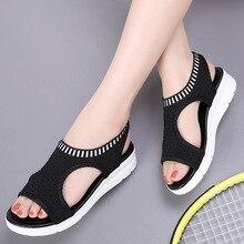 2019 Summer New Women Sandals Mesh (Air Mesh) Platform Gladiator Fashion Casual Shoes Woman Elastic Band Plus Size 35-44