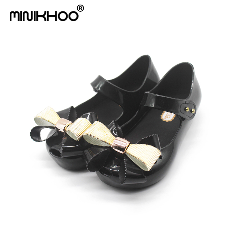 Mini Melissa New Bow Lovely Girls Jelly Sandals 2018 New Girls Jelly Sandals Children Shoes Melissa Girl Sandals High Quality