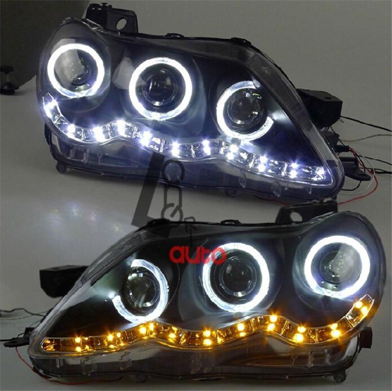 angel eyes led head lamp 2009 11 year tlz for hyundai sonata car styling LED Angel Eyes Headlights For TOYOTA Reiz  Mark X  2005-2009 head lamp