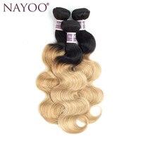 NAYOO Ombre Braziliaanse Haar Body Wave Bundels T1B/27 Niet Remy Menselijk Haar Weave 1 Stuk 10-24 inch Kan Mix Elke Lengte