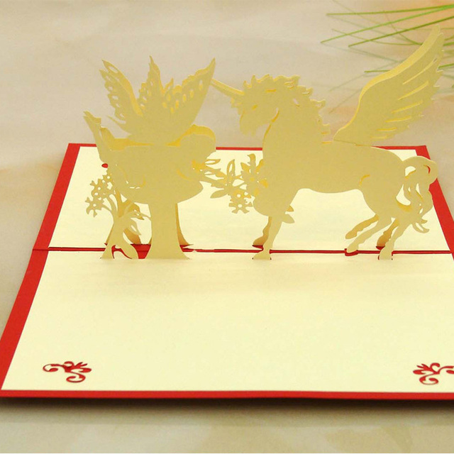 10pcslot laser cut wedding invitations kirigami 3d greeting card 10pcslot laser cut wedding invitations kirigami 3d greeting card cubic cartoon horse and angel m4hsunfo