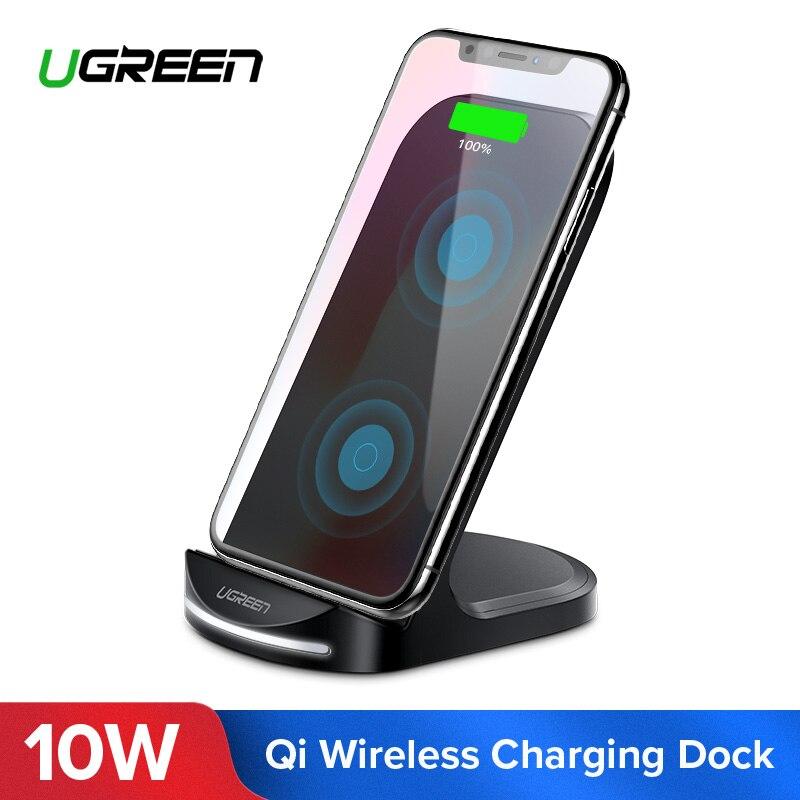 Ugreen 10 W Qi cargador inalámbrico para iPhone X XS X Max 8 rápido de carga inalámbrica para Samsung S8 S9 + Nota 9 8 S9 cargador de teléfono