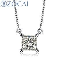 ZOCAI brand Princess Cut Real 1.1 CT Certified F G / SI Diamond 18K White Gold Necklace D04731