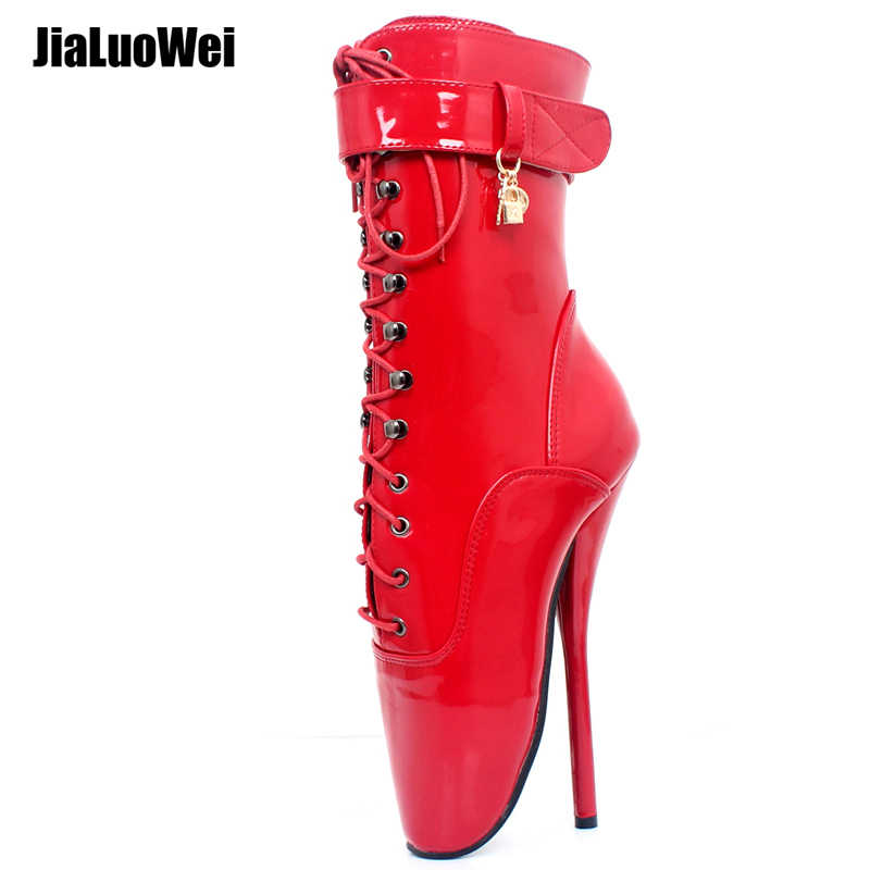 d61174e21323 jialuowei 18CM Extreme High Heel Boots Sexy Fetish Goth Ankle Ballet Boots  Spike Heels Pointed Toe