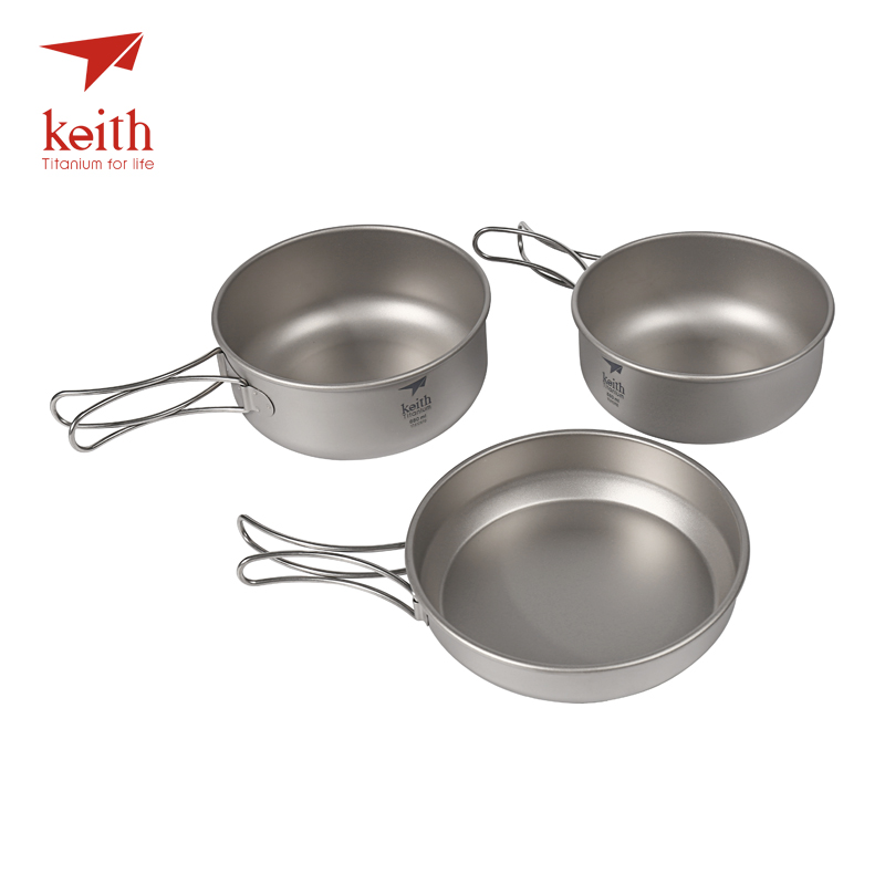 Keith 3Pcs Titanium Pans Bowls Set With Folding Handle Cook Sets Titanium Pot Set Camping Hiking