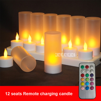 Creative Bar Decorations Rechargeable Remote Control LED Electronic Candle Light Romantic Party Small Night Light , Set of 12