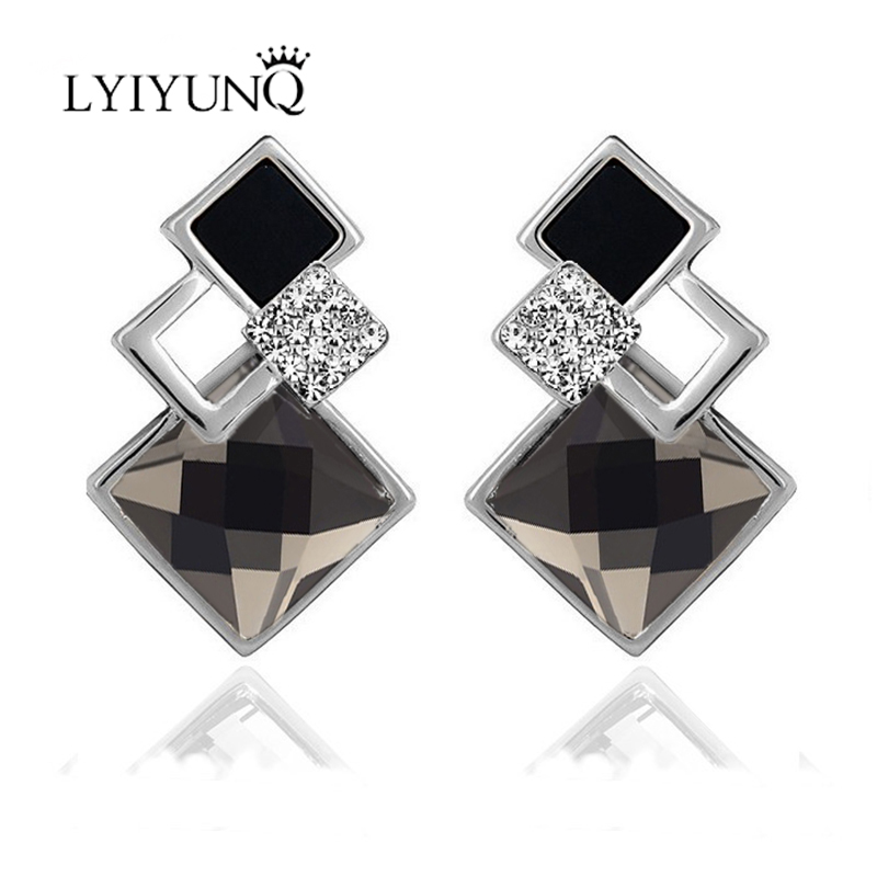 LYIYUNQ Famous Brand New Fashion Brincos Wedding Jewelry Big Blue Earring Crytal Square Stud Earrings For Women