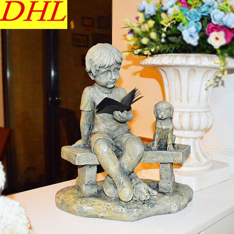 Retro Boys and Dogs Bust Figure Statue Gypsum Resin Craftwork Continental Home Decorations Collectible L2156 цена