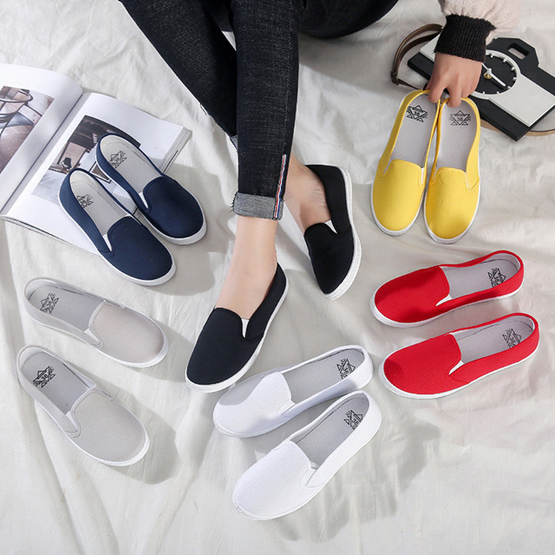 Plus Size 42 Women Sneakers Slip On Shoes Woman Flats Canvas Loafers Candy Color Casual Shoes Female White Shoes Zapatos Mujer(China)