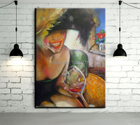 2015 New Arrival High Quality Handmade Abstract Drinker Lady Wine Love Oil Painting On Canvas For