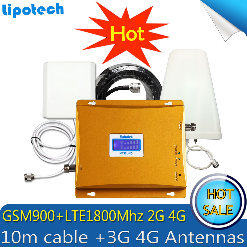 Lintratek Repeater GSM 900 LTE 1800 Mobile Phone Cellular Signal Booster 65dB 2G 4G GSM DCS Cellphone Repeater Repetidor Antena
