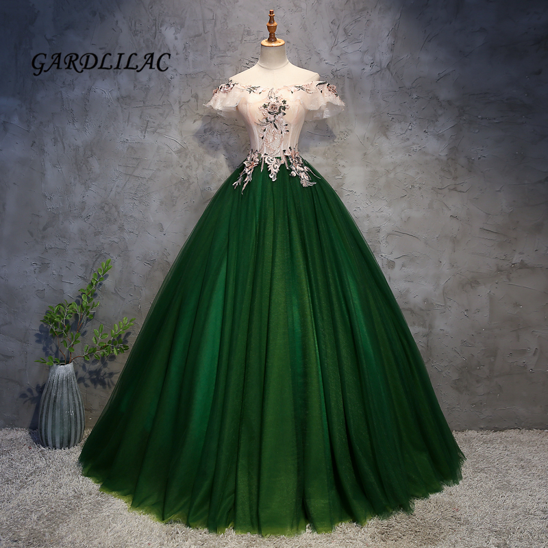 Green Cap Sleeve Quinceanera Dresses 2019 Tull Masquerade Ball Gown Long Prom Dress Sweet 16 Dress