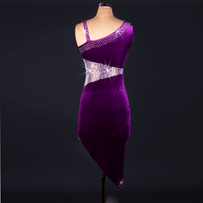 Latin Competition Dance Skirt Women Adult High Quality Flashing Rumba Samba Dancing Wear Dress Adult Purple Latin Skirt