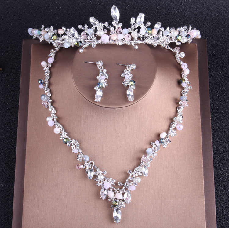 Baroque Luxury Silver Crystal Bridal Jewelry Set African Beads Rhinestone Crown Tiara Necklace Earrings Set Costume Jewelry Sets