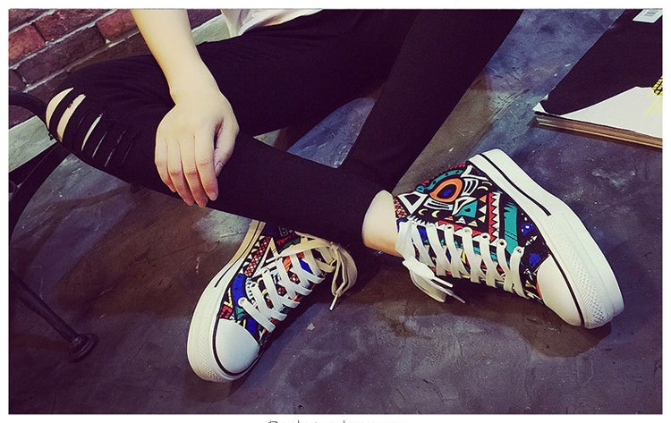 2016 spring summer high top canvas women shoes flower color graffiti Height Increasing casual women canvas shoes ST809 (3)