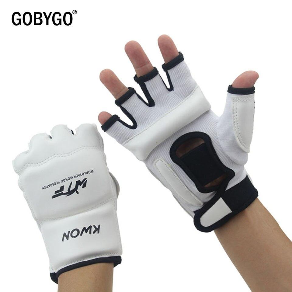 GOBYGO demi doigt gants de boxe PU cuir MMA combat coup de pied gants de boxe karaté Muay Thai entraînement gants enfants hommes