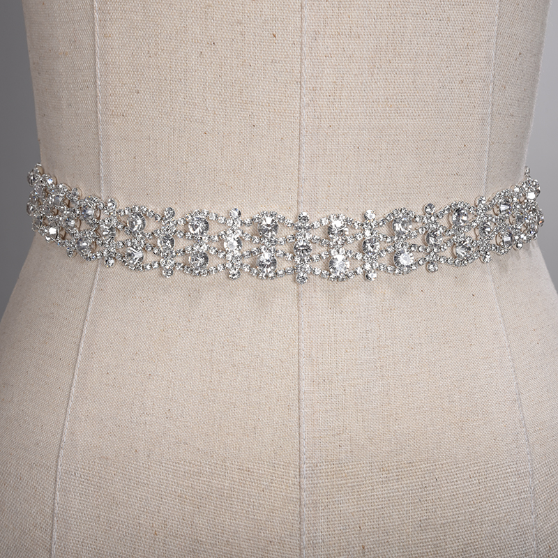 Купить с кэшбэком Handmade Crystal Wedding Belts Golden Silver Rhinestone Wedding Dress Belt Formal Bridal Ribbon Sash Belt Wedding Accessories