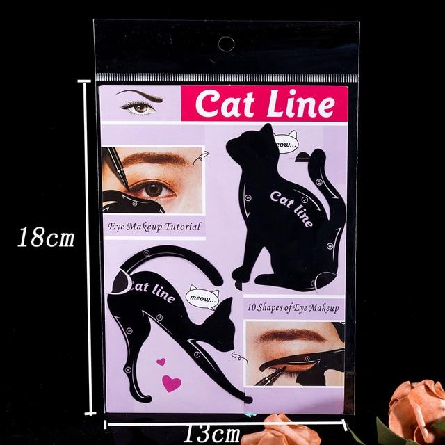 2Pcs Cat Line Pro Eye Eyeliner Stencils Template Shaper Model Mold Stencils Eyeshadow Plastic Template Kit 10 Painting Methods 3