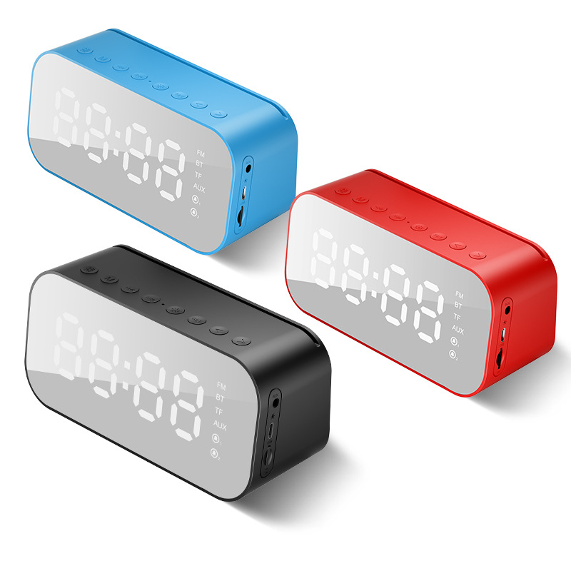 New LED lamp with wireless Bluetooth Speaker Mini Ultra bass gun mirror alarm clock smart Stereo - 3