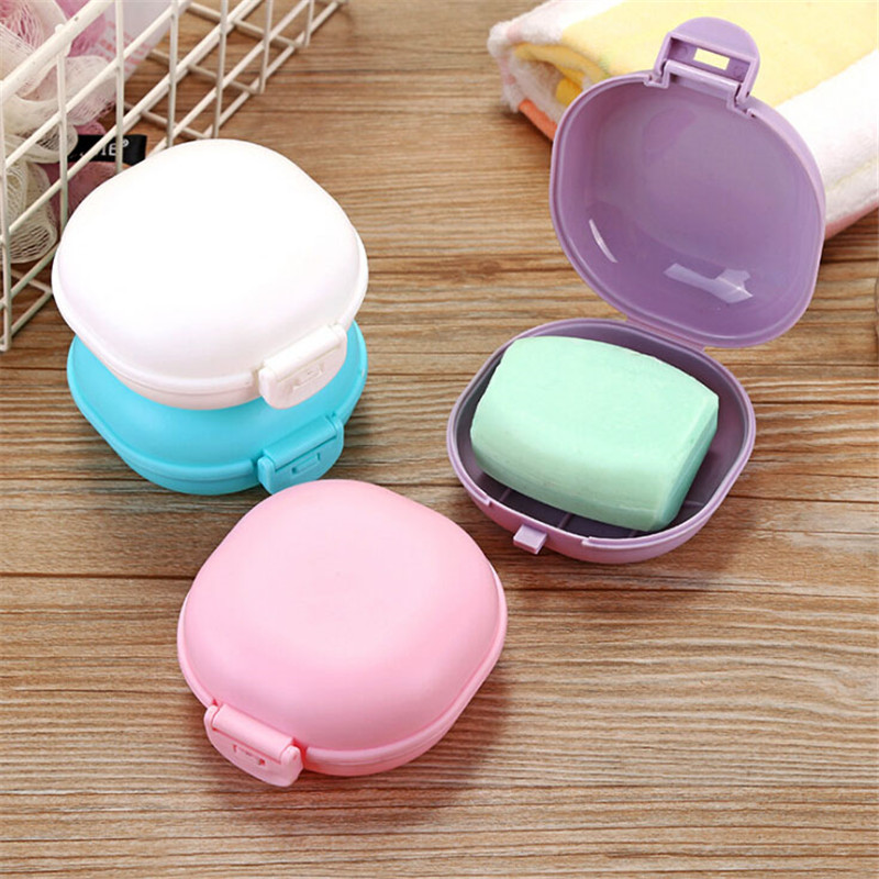 New Bathroom Dish Plate Case Home Shower Travel Hiking Holder Container Soap Box Travel Bathroom Supplies Soap Dishes Container