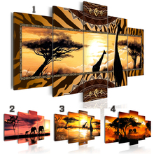 2019 Canvas Print Modern Fashion Wall Art the African Animals Sunset Landscape Elephant Giraffe for Home Decoration No Frame