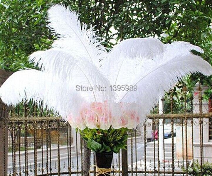 무료 배송 도매 100 pcs 아름다운 자연 흰색 타조 깃털 16 18 inch/40 45 cm 장식 diy-에서깃털부터 홈 & 가든 의  그룹 2