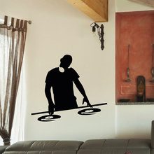 Hot Selling Music Vinyl Wall Decal Boy Play Music Electronic Music Headphones Mural Art Wall Sticker Bedroom Home Decoration