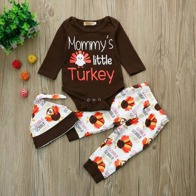 2e0d8e88e708 2018 new Newborn Infant Baby Boy Letter Romper Tops+Pants+Hat Thanksgiving  Outfits Set soft drop shipping August 8