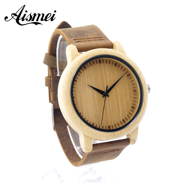 2016 Unique Vogue Men Womens Bamboo Wooden Watch Quartz Outdoor Watches Clock With Leather Strap Montre Femme