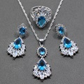 Natural Blue Created Topaz White Crystal 925 Sterling Silver Women Fashion Jewelry Set Ring Size 6/7/8/9/10 Free Gift  Box T302