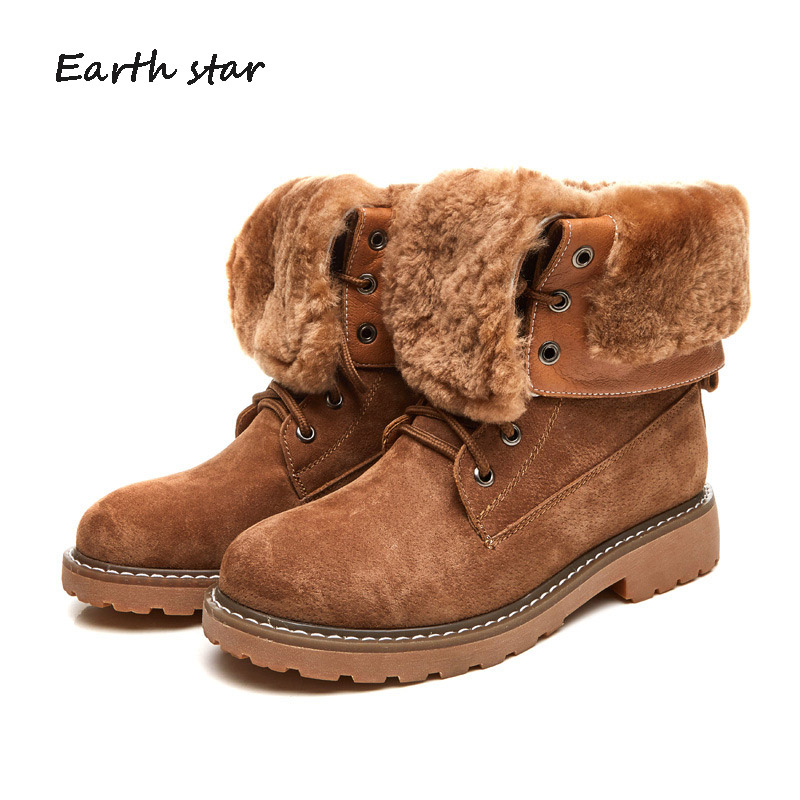 Winter Warm Shoes Women Fashion Brand Real Leather Martin Boots Lady chaussure Female Snow Boots With Fur Girl footware Plush