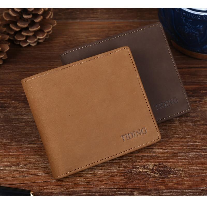 ФОТО TIDING Nubuck leather soft wallet horizontal version wallet for men front pocket wallet credit card holder 4087