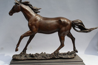 xd 003428 16 Chinese Bronze Copper Marble Home Art Decoration Rest Horse Statue Sculpture