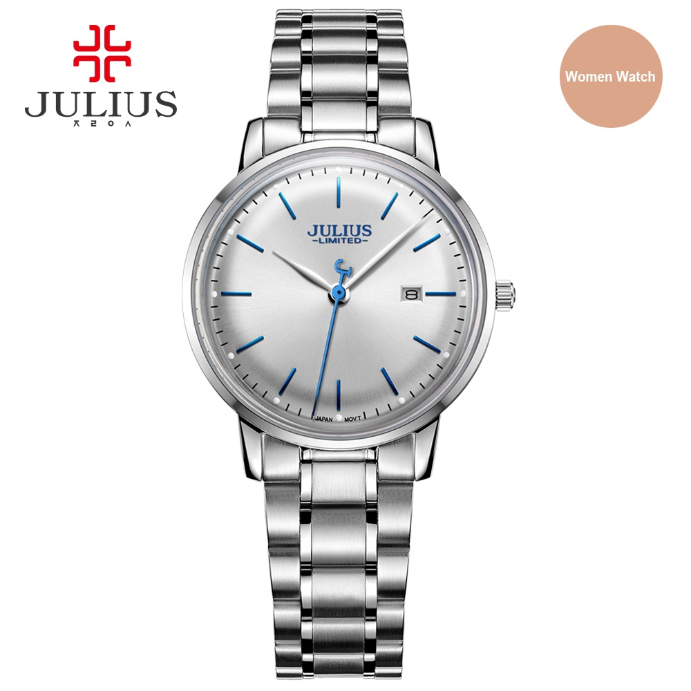 Julius Original Designer UltraThin Limited Edition Women Watch Simple Slim Dial Auto Date Full Steel Ladies Montre Clock JAL-040 тонконосы кратон 2 12 10 005