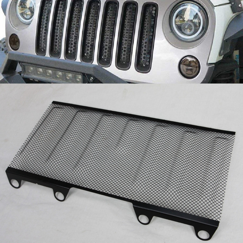For Jeep Wrangler JK Front Hood Grille Steel Mesh Guard Stainless Steel Mesh Grille Insert For