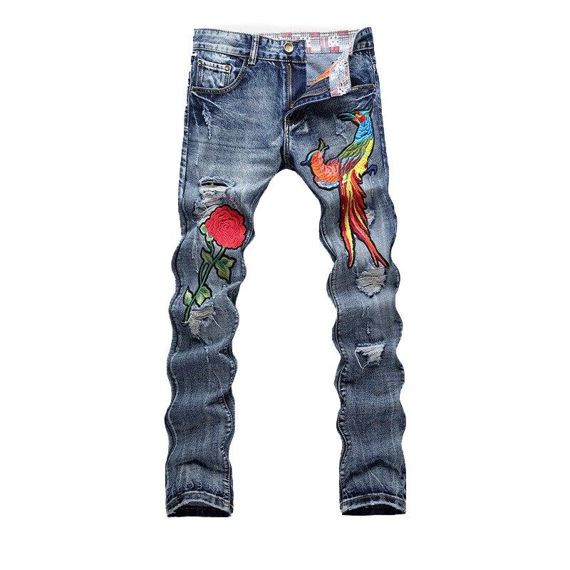 Fashion Jeans Men New Stylish Embroidery Slim Fit Denim Pants Men Skinny Jeans Brand Designer Biker Distressed Ripped Jeans Male men s cowboy jeans fashion blue jeans pant men plus sizes regular slim fit denim jean pants male high quality brand jeans