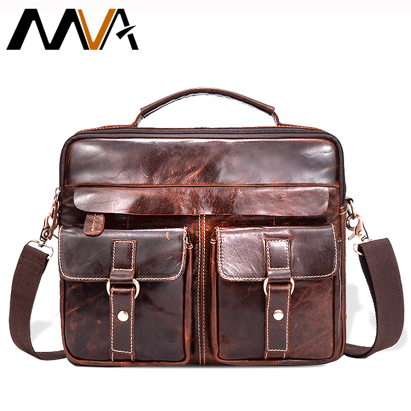 MVA Men Messenger Bags Male Genuine Leather Men Bag Briefcase Men's Shoulder Leather Laptop Bag Crossbody Bags Handbags Tote 801 mva genuine leather men bags new man briefcase laptop handbag messenger bag men s business bags male crossbody handbags