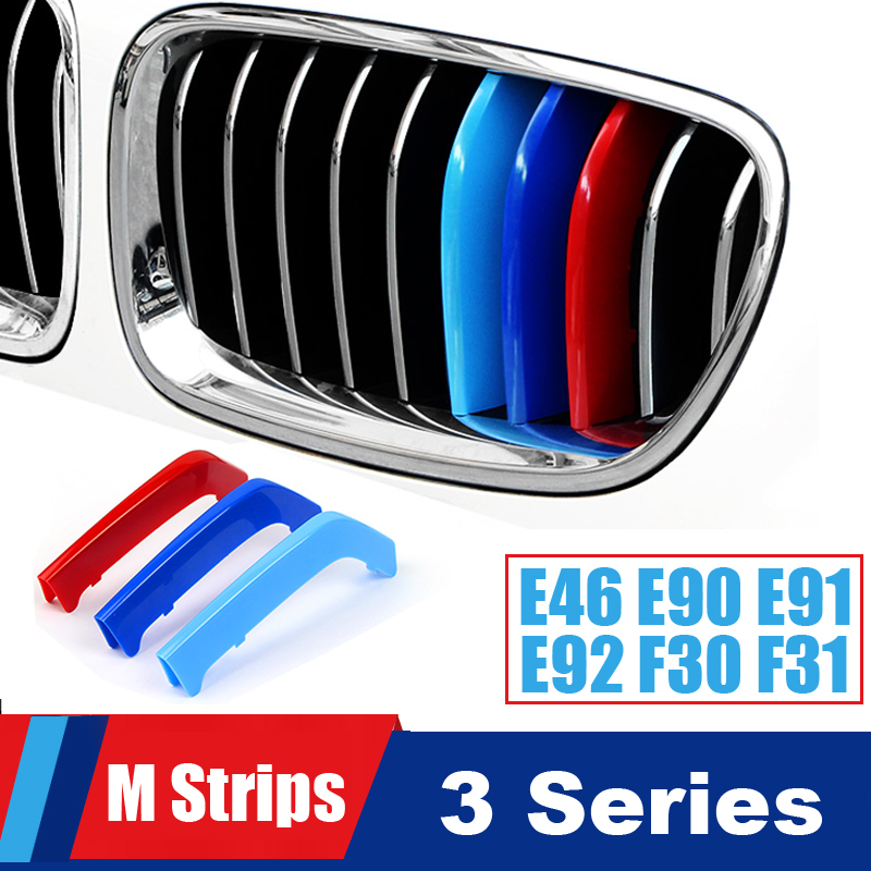 Nice Grill M Performance Strips For <font><b>BMW</b></font> 3 series E46 E90 E91 E92 E93 F30 <font><b>F31</b></font> F34 Accessories Grille Stripes Motorsport <font><b>Stickers</b></font> image
