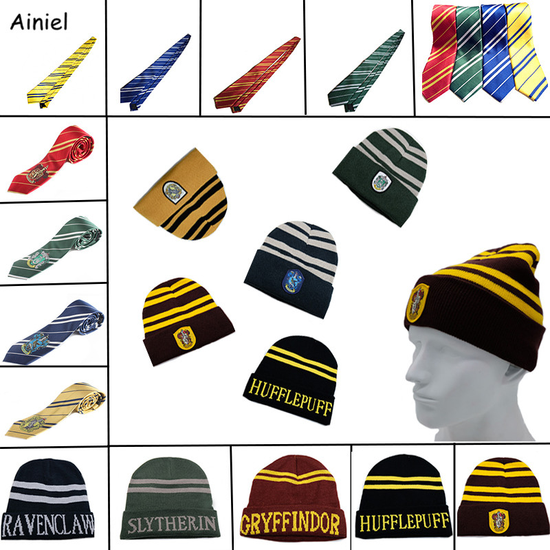 Ainiel 10 PCS LOT Hogwarts School Hats Ties Gryffindor Slytherin Hufflepuff Ravenclaw Cap Cosplay Costume Hermione Men Women Boy
