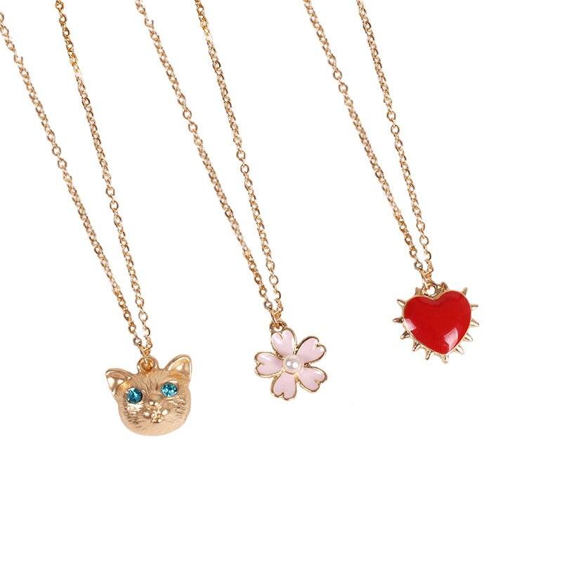 cf0720cb4e2a 10 unids lote japonés collar lindo oro Gatos Sakura Rosa melocotón corazón  Collar para mujer en Collares pendientes de Joyería y accesorios en ...