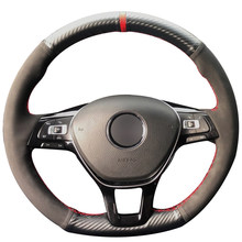 Carbon Fiber Leather Black Suede Red Marker Steering Wheel Cover for Volkswagen VW Golf 7 Mk7 New Polo Jetta Passat B8 Tiguan(China)