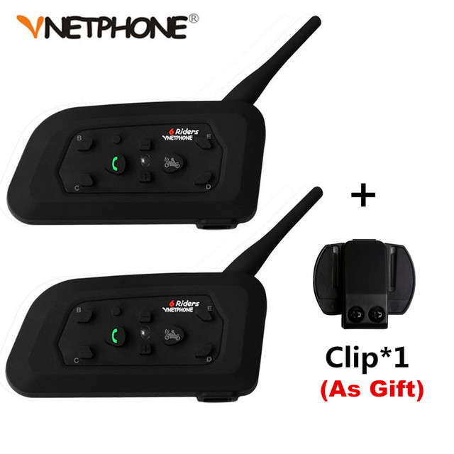 2PCS Vnetphone V6 Motorcycle Bluetooth 3.0 Helmet Intercom Headset 1200M Moto Wireless BT Interphone for 6 Riders Helmet Headset