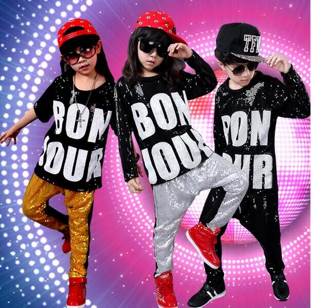 Korean Fashion Boy Girls' Sequin Hip-Hop Clothing Set New Kids Jazz Sports Suit Top & Harem Pants Child Hip Hop Dance Clothing