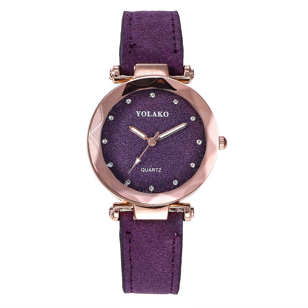 YOLAKO Women's Casual Quartz Leather Band Starry Sky Watch Analog Wrist Watch Purple Femal Clock Hot Gift Dress reloj mujer A10 1