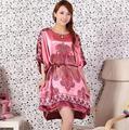 Novelty Printed Plus Size Female Robe Dress Hot Sale Satin Nightwear Bathrobe Chinese Women Loose Sleepwear With Belt M11