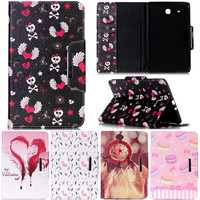 Cute Cartoon Love Skull Butterfly Dog Stand Leather Smart Fundas Case For Samsung Galaxy Tab E